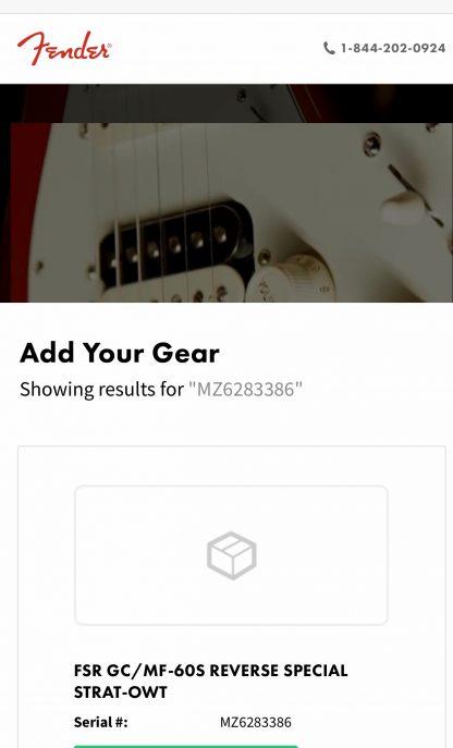 Fender Stratocaster Reverse Headstock